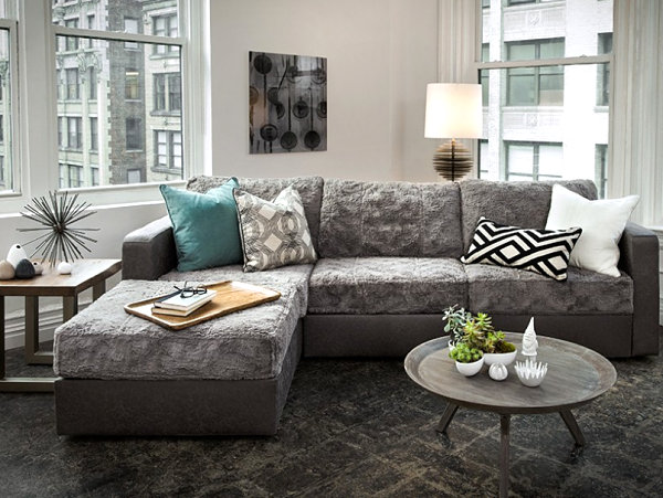 ... View In Gallery Faux Fur Sectional ...