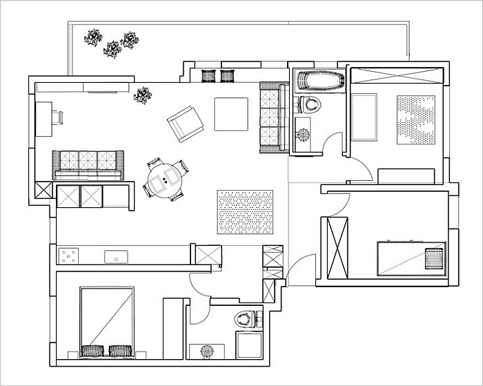 Floor plan of the modern apartment