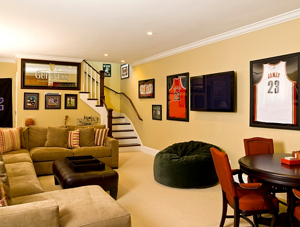 Framed basketball jerseys look cool in the contemporary media room