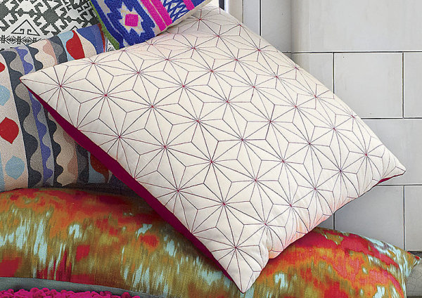 Geometric embroidery pillow