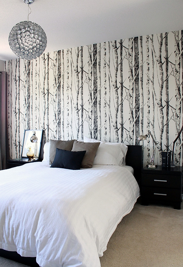 Give your bedroom the woodsy winter look with wallpaper