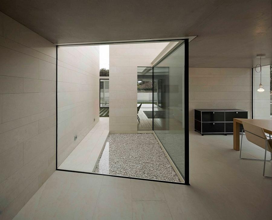 Glass walls allow in natural light