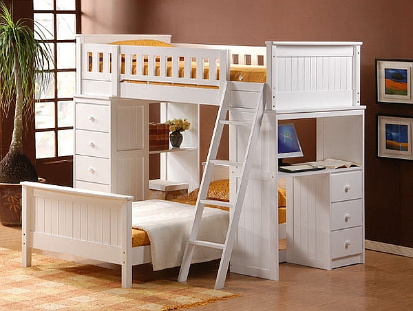 Gorgeous bunk bed design with a desk underneath