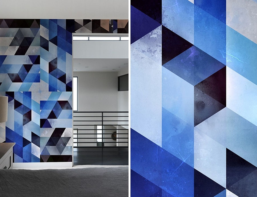Gorgeous wall pattern tiles in bold blue and black
