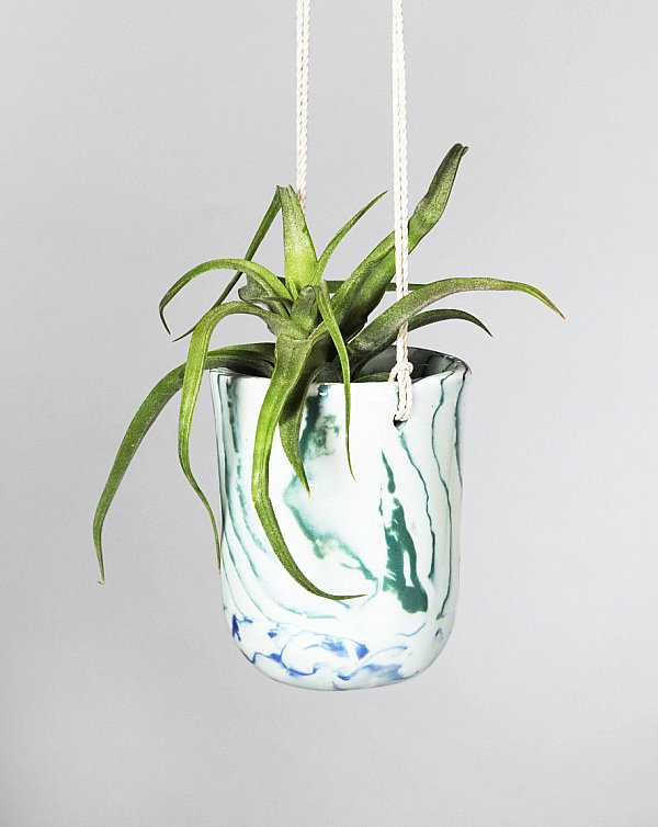 Green marbled planter