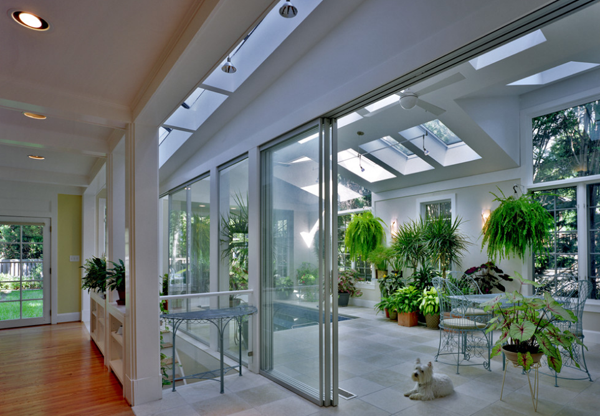 Greenhouse with a pool