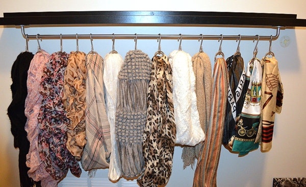 View in gallery Hanging rod scarf organizer