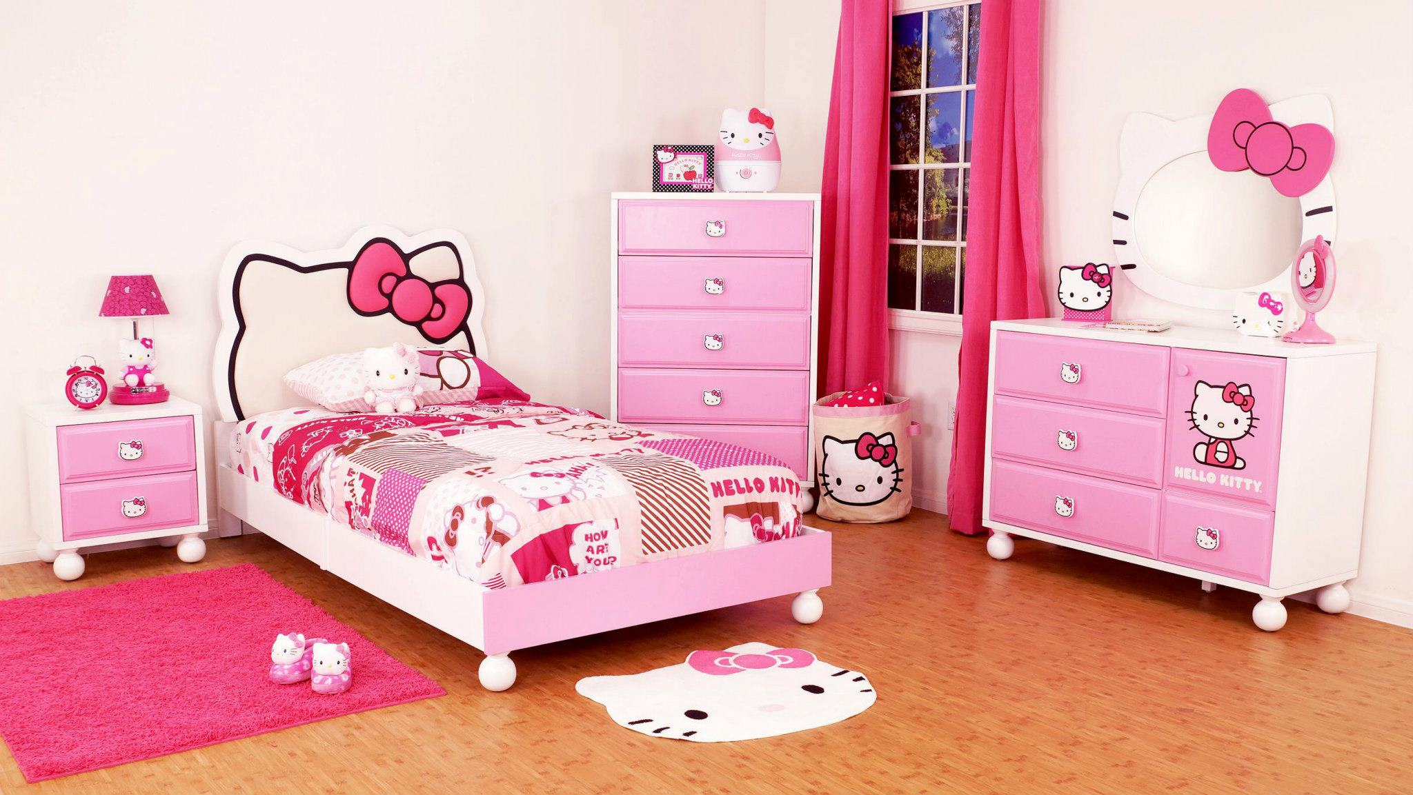 Bedroom ideas for girls hello kitty - View In Gallery Hello Kitty Theme Kids Bedroom Interior Design