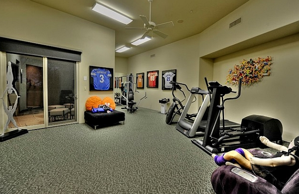 Home gym with frame jerseys on the wall
