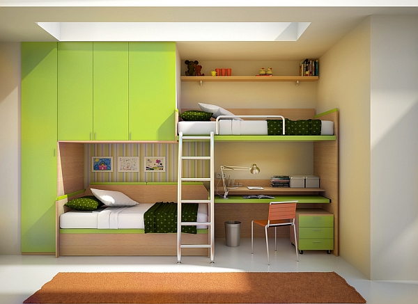 Imaginative bunk bed design with a built-in desk