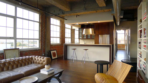 View In Gallery Industrial Loft Living Room With A Tufted Sofa Part 64