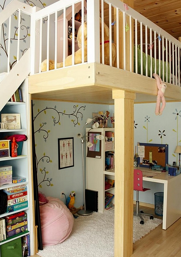 Kids' loft bed with study desk and play area underneath