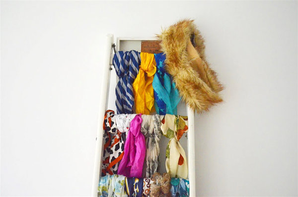 Ladder scarf storage