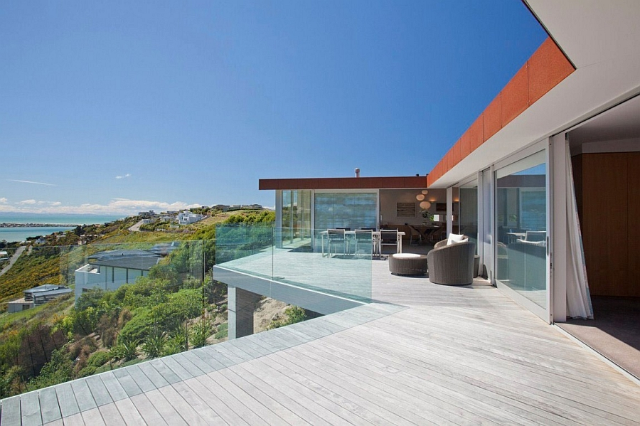 Large open deck space with ocean views