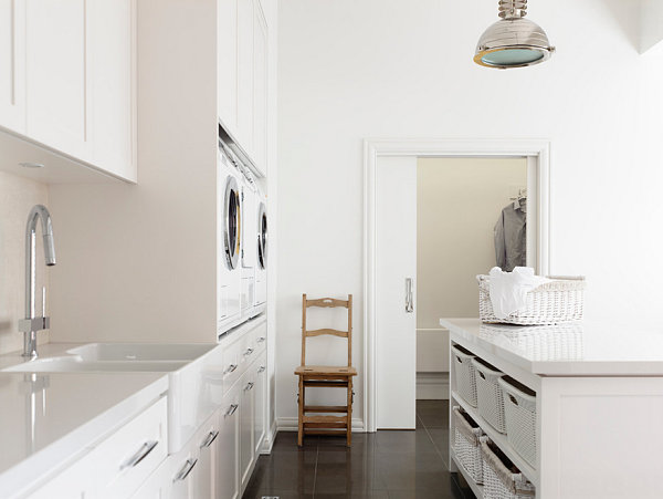 Laundry room cabinets and island shelving