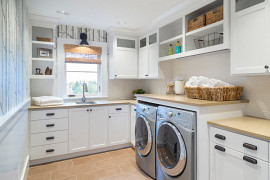 Laundry room shelving and accessories