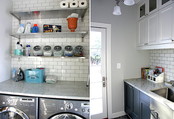 Laundry room with open shelving and subway tile