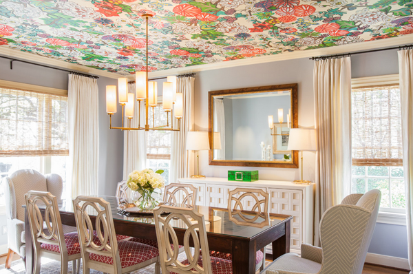 Design trend wallpaper featured on the ceiling for Dining room 2014 trends