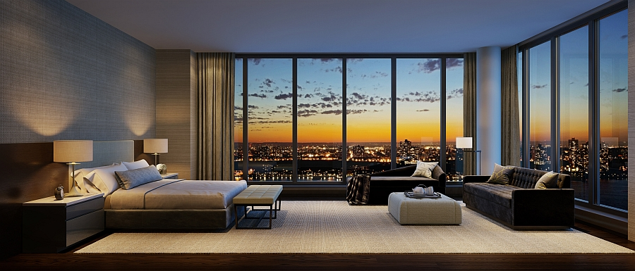 Lavish bedroom of the residence at One Riverside Park with New York City view
