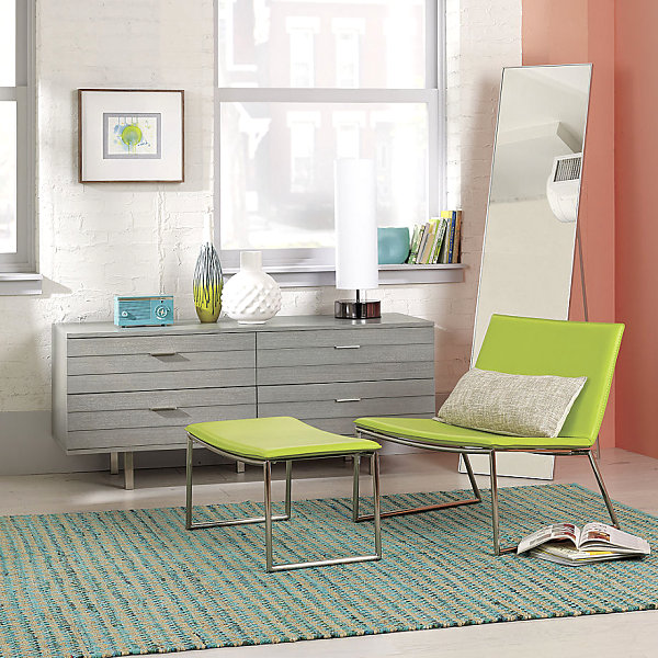 Lime green pops against peach walls