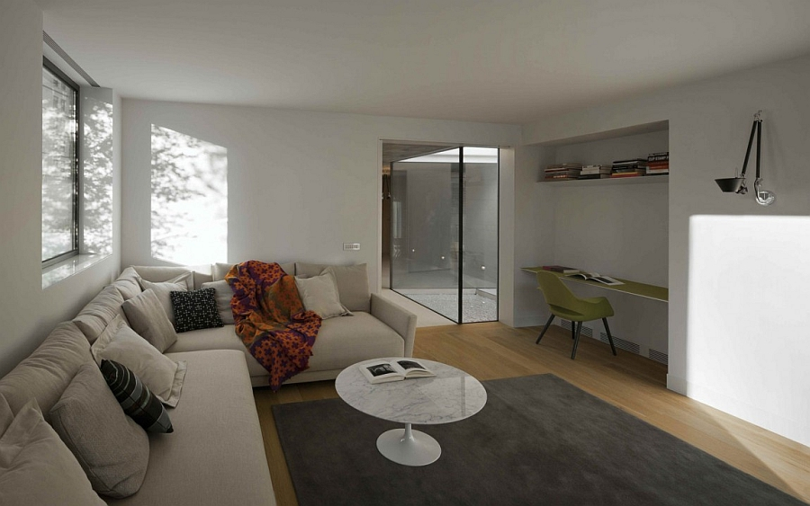 Living room in white with modern decor