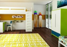 Loft bed with a desk opens up plenty of space in the boys' bedroom