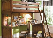 Loft bunk bed with a cool desk below fits in effortlessly in any small bedroom 217x155 Loft Beds With Desks Underneath