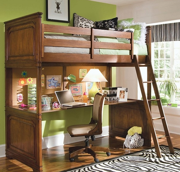 Loft bunk bed with a cool desk below fits in effortlessly in any small bedroom