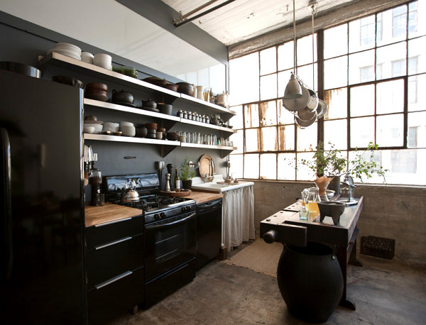 Loft kitchen with open shelving