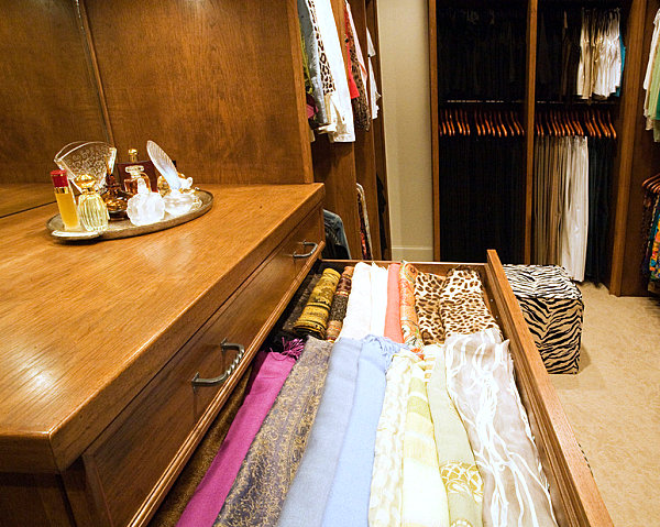 Long scarves in drawers
