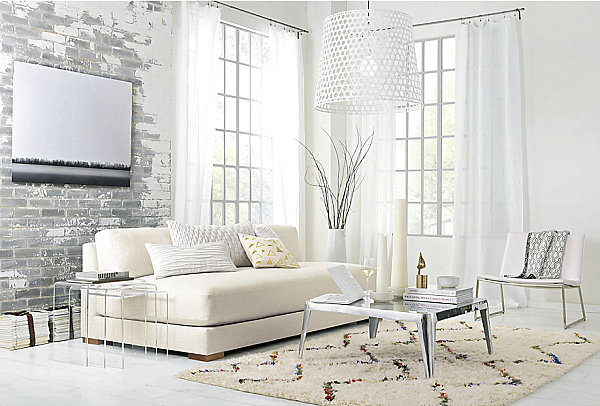 View in gallery Long white sofa