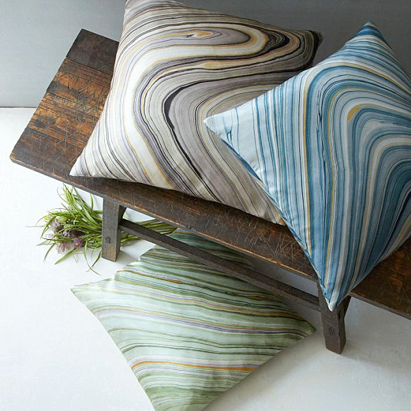 Marble-pattern throw pillows