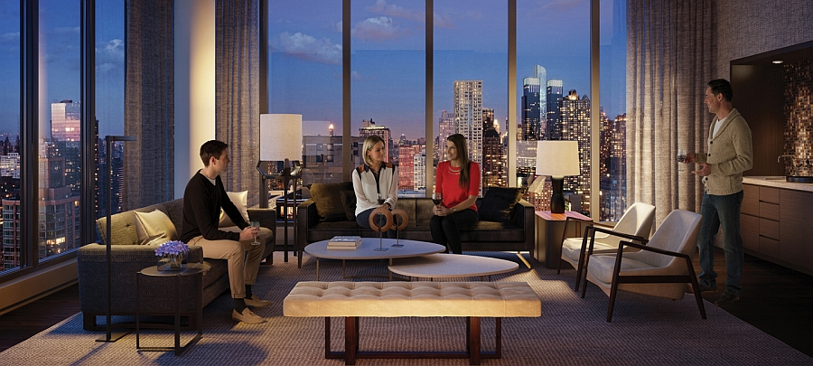 Media room with views of New York City Skyline