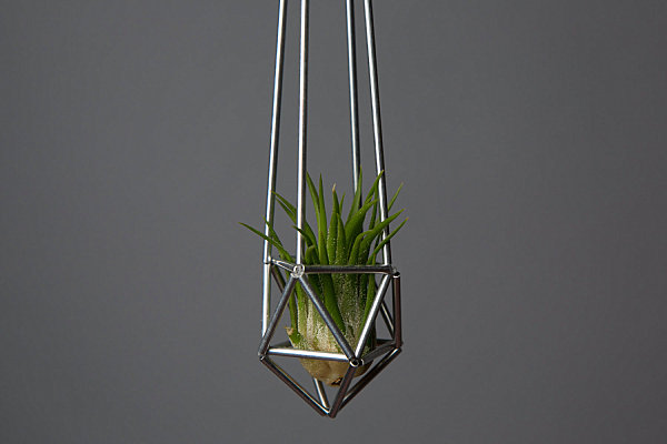 Metal geometric drop planter