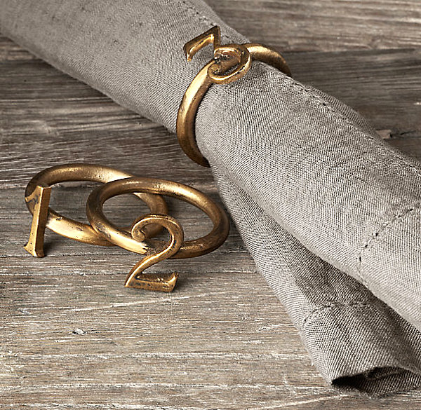 Metallic number napkin rings