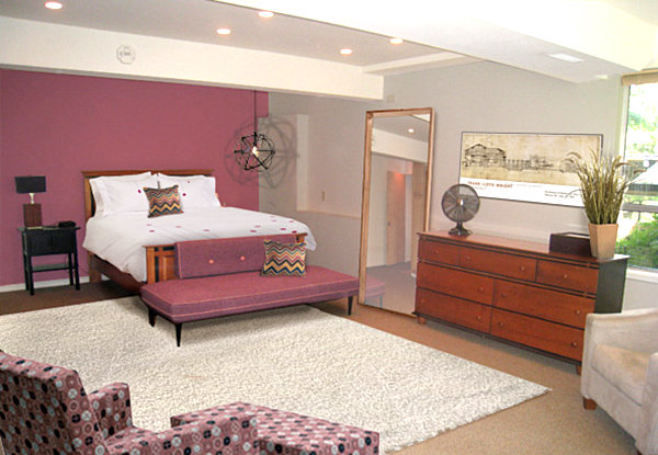 Mid-Century modern bedroom with a raisin color scheme