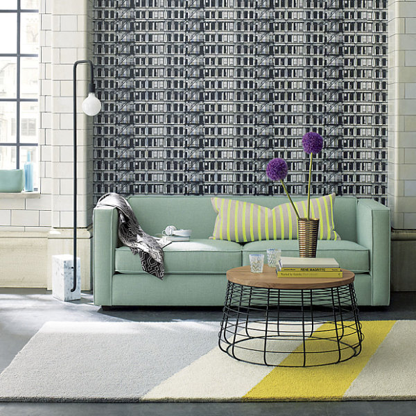 Mint green two-seater sofa