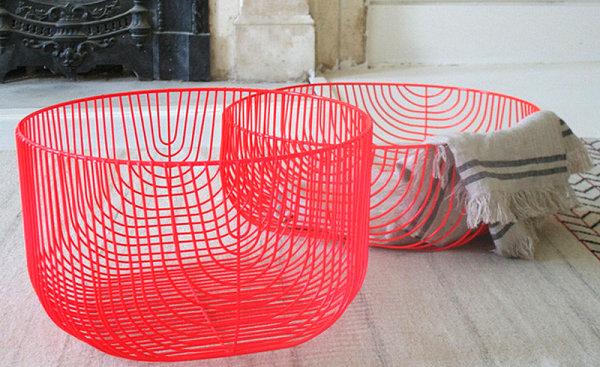 Neon red wire baskets
