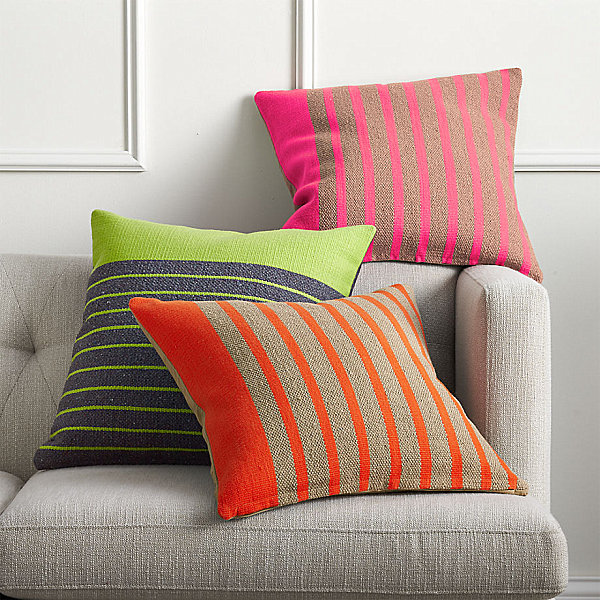 Neon striped pillows from CB2
