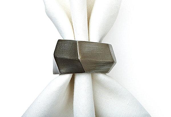 Nickel geo napkin rings