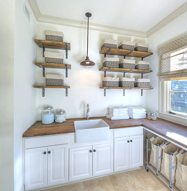 Open shelving in an organized laundry room