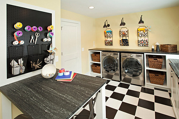 Organized laundry room filled with storage options