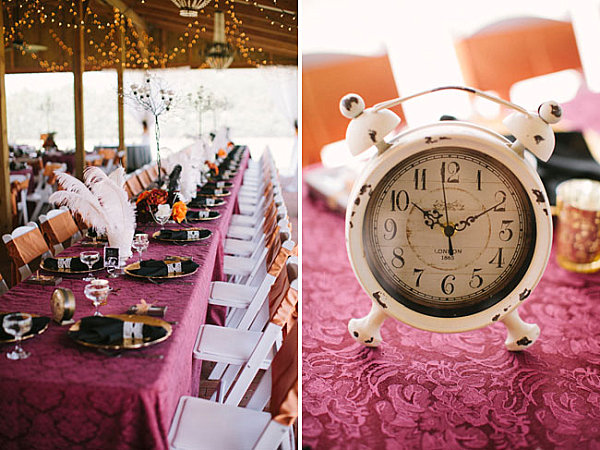 Ornate table setting at a steampunk wedding