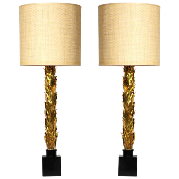Pair of 1970s brass lamps