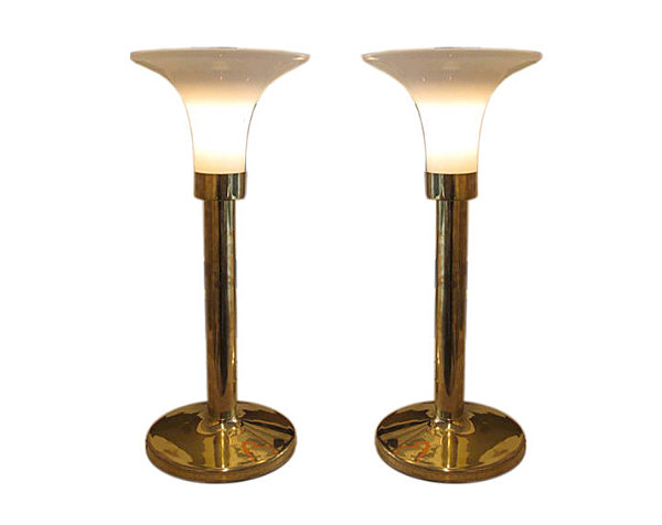 Pair of brass and glass lamps