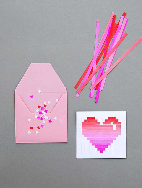 Paper strip woven heart Valentine's Day card