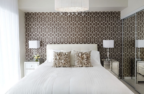 Patterned wallpaper in the white bedroom adds both color and style