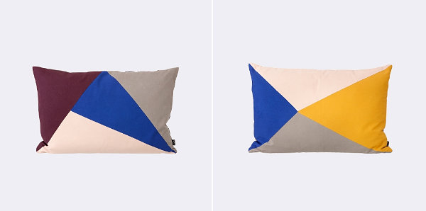 Pillow with bold triangles