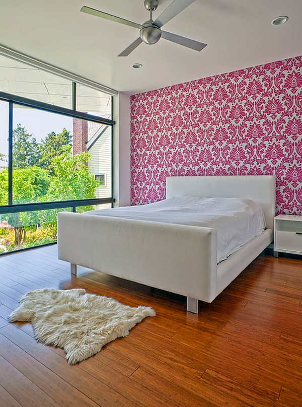 Pink patterned wallpaper for the bedroom accent wall
