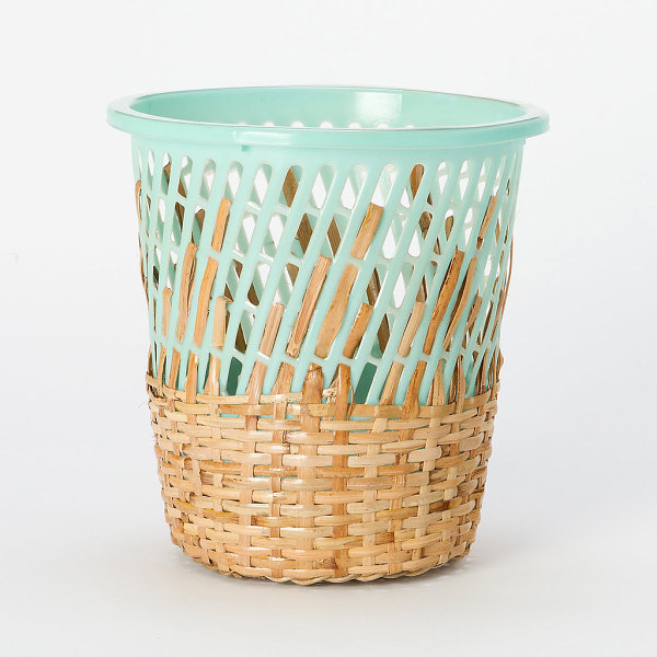 Rattan and plastic storage basket